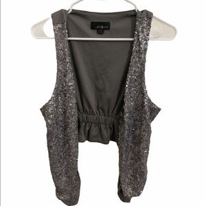 Forever 21 Silver/Gray Open Front Sequin Vest L